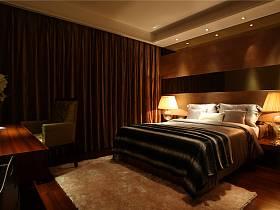 現代臥室三室兩廳兩衛窗簾裝修圖