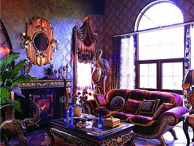 欧式东南亚客厅窗帘案例展示