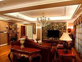 美式客廳吊頂電視背景墻設計方案