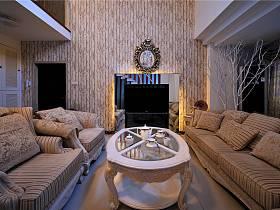 现代客厅别墅窗帘电视背景墙设计案例展示