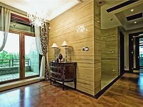 美式别墅过道窗帘图片