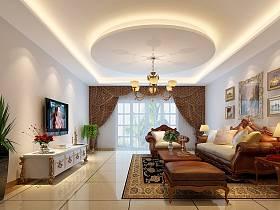 欧式客厅吊顶沙发茶几设计案例