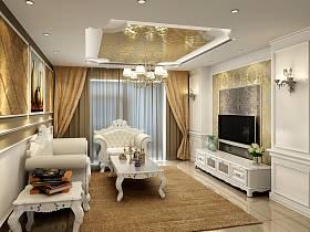 歐式精致客廳吊頂窗簾電視背景墻案例展示