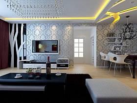 现代简约客厅吊顶电视背景墙设计图