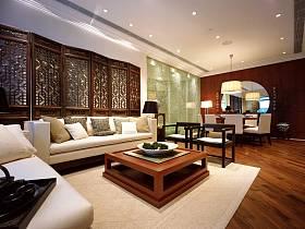 中式中式风格客厅背景墙沙发客厅沙发设计案例展示