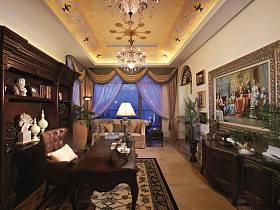 歐式巴洛克風格書房吊頂窗簾設計方案