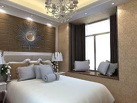 臥室吊頂窗簾裝修案例