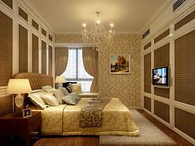 歐式臥室吊頂窗簾裝修案例