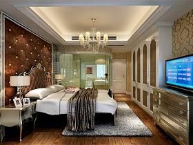欧式卧室吊顶衣柜电视柜整体衣柜卧室衣柜装修案例
