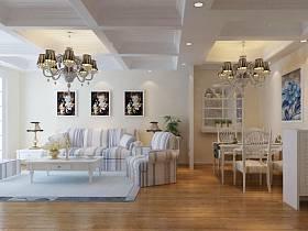 地中海客廳單身公寓吊頂設計方案