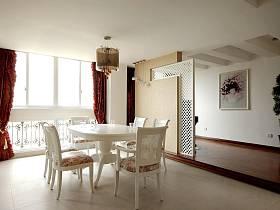簡歐餐廳三室兩廳兩衛吊頂窗簾裝修圖