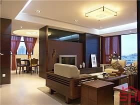 客廳吊頂窗簾沙發實木家具電視柜設計圖