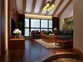 中式客厅实木家具图片