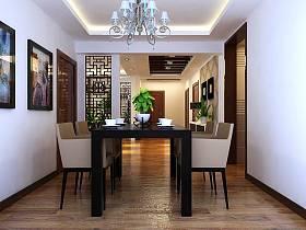 中式餐廳三室兩廳兩衛吊頂設計方案