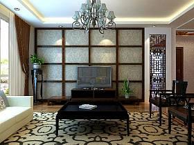 中式客厅三室两厅两卫吊顶窗帘电视柜电视背景墙装修效果展示