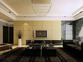 现代客厅吊顶窗帘电视柜电视背景墙装修案例