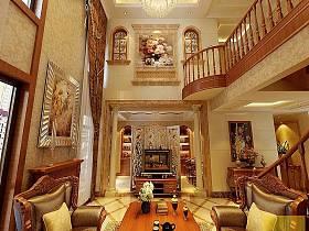法式客厅别墅吊顶电视背景墙装修案例