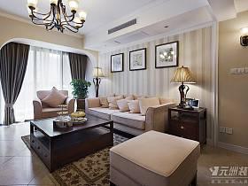 美式客廳躍層窗簾設計案例展示