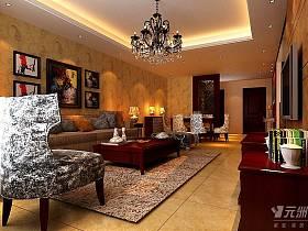 美式客厅跃层吊顶设计案例
