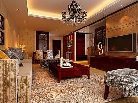 美式客廳躍層吊頂電視柜電視背景墻設計案例