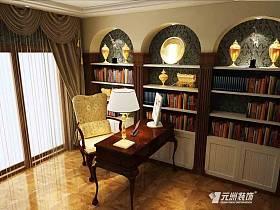 欧式书房别墅吊顶书柜设计图
