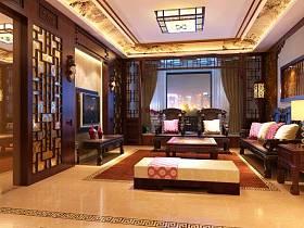 新中式客厅三室两厅两卫吊顶窗帘电视柜电视背景墙设计案例