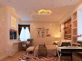 現代新中式臥室三室兩廳兩衛吊頂窗簾案例展示