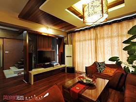中式客廳躍層吊頂窗簾設計案例展示