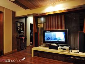 中式客廳躍層電視背景墻設計圖