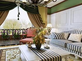 田园客厅窗帘案例展示