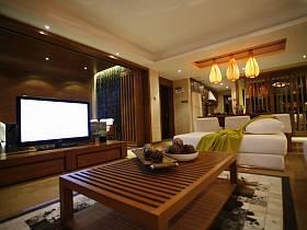 简约客厅跃层电视柜电视背景墙装修案例