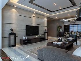 中式客厅吊顶电视背景墙案例展示