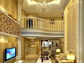 歐式客廳躍層電視背景墻裝修圖