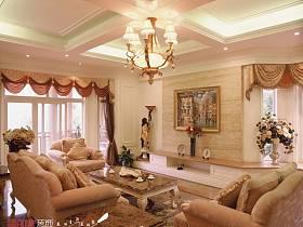法式客厅别墅吊顶窗帘案例展示
