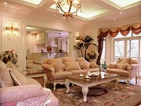 法式客厅别墅吊顶窗帘装修案例
