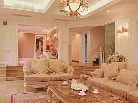 法式客厅别墅吊顶楼梯装修案例