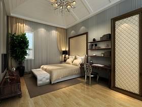 新古典卧室吊顶窗帘装修案例