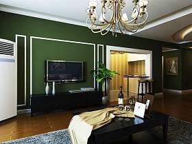 美式客厅吊顶电视背景墙设计图