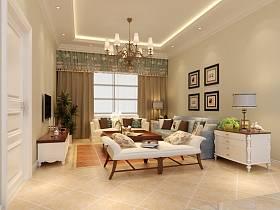 美式客厅吊顶电视背景墙效果图