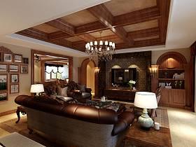 欧式客厅吊顶电视背景墙设计案例