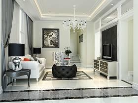 新古典别墅吊顶电视背景墙设计案例