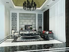 新古典客厅别墅吊顶电视背景墙装修效果展示