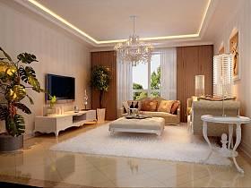 欧式客厅吊顶电视背景墙设计案例展示