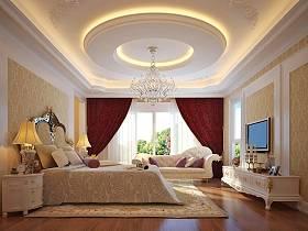 欧式卧室吊顶电视背景墙设计图