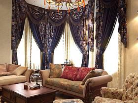 美式客廳別墅吊頂窗簾設計圖