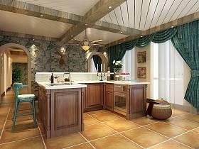 美式厨房吧台别墅窗帘效果图