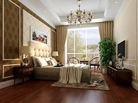 新古典卧室吊顶电视背景墙装修案例