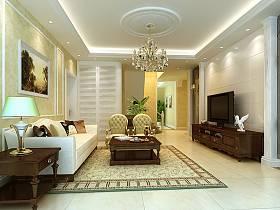 新古典客厅吊顶电视背景墙案例展示