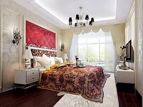 欧式古典卧室电视背景墙装修案例