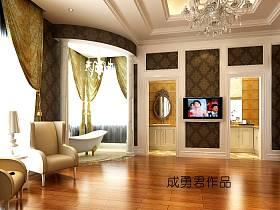 欧式别墅吊顶电视背景墙装修效果展示